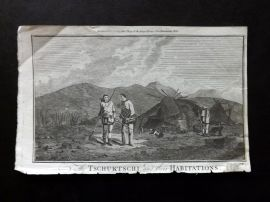 Cook's Voyages 1790 Antique Print. Tschuktschi and their Habitations. Russia.